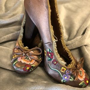 Cutesy Embroidered Heels, Choc Brown Satin